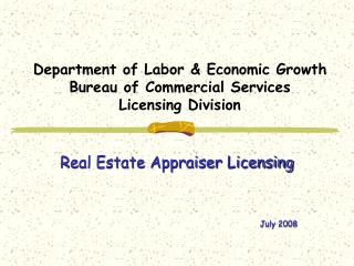 Department of Labor  Economic Growth Bureau of Commercial Services Licensing Division