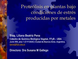 Proteólisis en plantas bajo condiciones de estrés producidas por metales