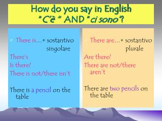 How do you say in English � C�� �   AND � ci sono� ?