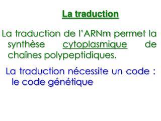 La traduction de l'ARNm permet la synthèse  cytoplasmique  de chaînes polypeptidiques.