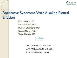 Boerhaave Syndrome With Alkaline Pleural Effusion