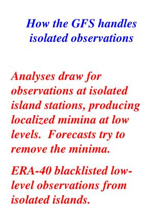 The Effect of Isolated Island observations and Skill in OLR