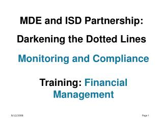 MDE and ISD Partnership: Darkening the Dotted Lines