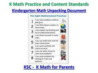 K Math Practice and Content Standards