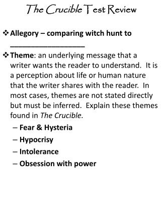 Allegory – comparing witch hunt to __________________