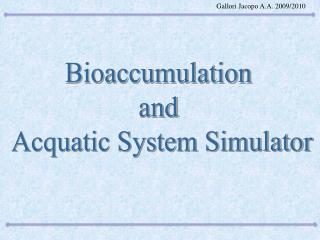 Bioaccumulation  and  Acquatic System Simulator