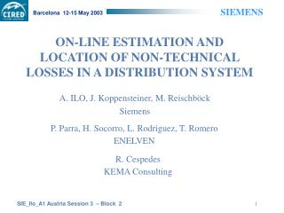 ON-LINE ESTIMATION AND LOCATION OF NON-TECHNICAL LOSSES IN A DISTRIBUTION SYSTEM