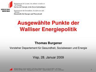 Ausgewählte Punkte der Walliser Energiepolitik