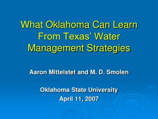 What Oklahoma Can Learn From Texas' Water Management Strategies