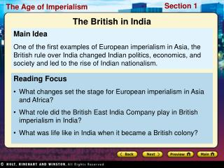 Reading Focus What changes set the stage for European imperialism in Asia and Africa?