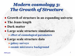 Modern cosmology 3: The Growth of Structure