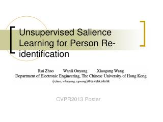 Unsupervised Salience Learning for Person Re-identification