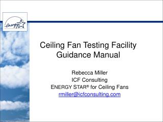 Ceiling Fan Testing Facility  Guidance Manual