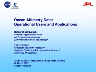 Ocean Altimetry Data:  Operational Users and Applications