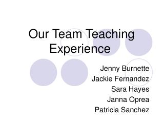 Our Team Teaching Experience