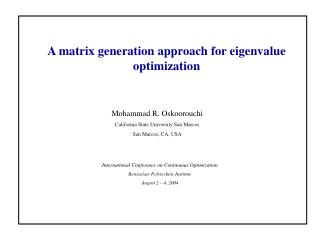 A matrix generation approach for eigenvalue optimization