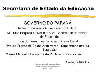 Secretaria de Estado da Educa��o