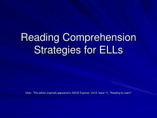Reading Comprehension Strategies for ELLs