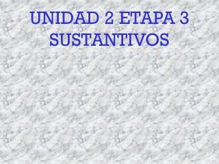 UNIDAD 2 ETAPA 3 SUSTANTIVOS