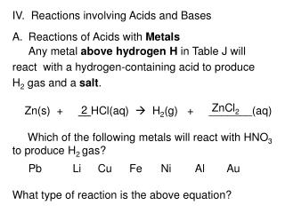 IV.  Reactions involving Acids and Bases