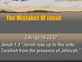 The Mistakes Of Jonah
