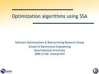 Optimization algorithms using SSA