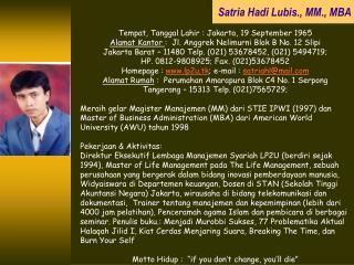 Satria Hadi Lubis., MM., MBA