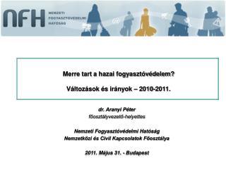 dr. Aranyi Péter főosztályvezető-helyettes Nemzeti Fogyasztóvédelmi Hatóság