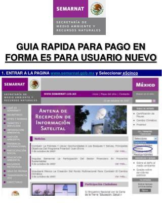 GUIA RAPIDA PARA PAGO EN  FORMA E5 PARA USUARIO NUEVO