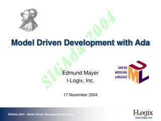 Model Driven Development with Ada