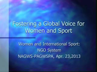 Fostering a Global Voice for Women and Sport