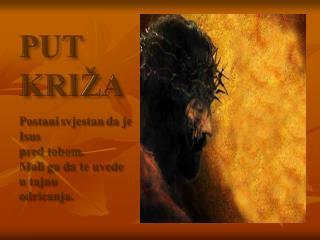 PUT KRIŽA Postani svjestan da je Isus pred tobom.  Moli ga da te uvede u tajnu odricanja.