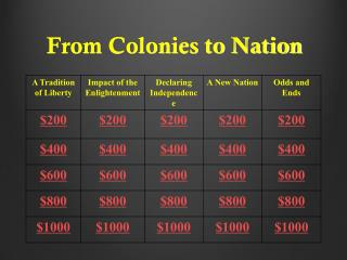 From Colonies to Nation