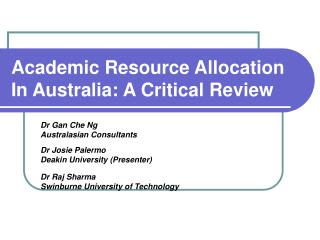 Academic Resource Allocation In Australia: A Critical Review