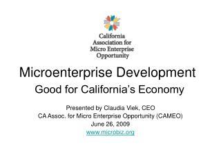 Microenterprise Development Good for California's Economy
