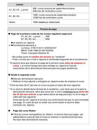   Pago de la primera cuota de los cursos regulares (sept+oct) A1, A2, A3…y junior…….  95 €