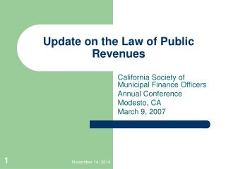 Update on the Law of Public Revenues