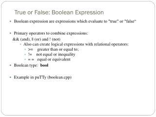 True or False: Boolean Expression