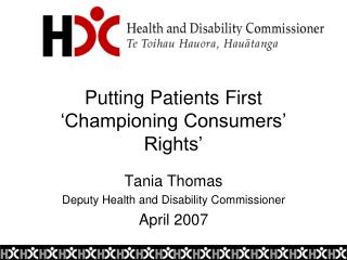 Putting Patients First 'Championing Consumers' Rights'