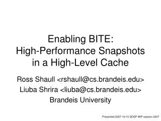 Enabling BITE: High-Performance Snapshots in a High-Level Cache