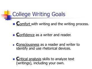College Writing Goals