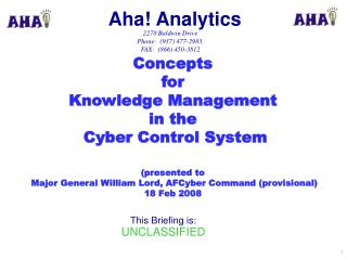 Concepts  for Knowledge Management  in the  Cyber Control  System (presented to