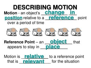 Motion  - an object's   relative to a   point over a period of time