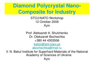 Diamond Polycrystal Nano-Composite for Industry