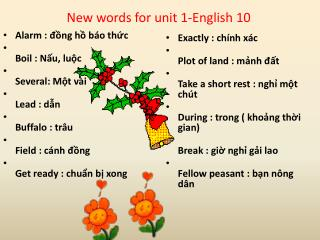 New words for unit 1-English 10