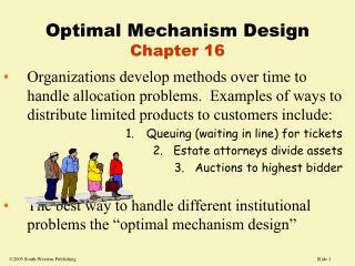 Optimal Mechanism Design Chapter 16