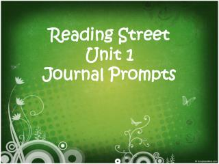 Reading Street Unit 1 Journal Prompts