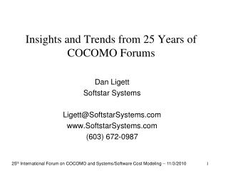 Insights and Trends from 25 Years of COCOMO Forums