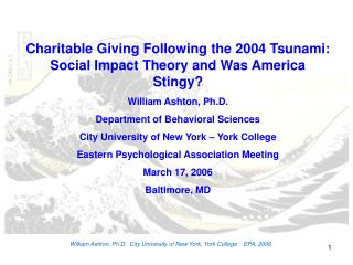 William Ashton, Ph.D.  City University of New York, York College    EPA, 2006