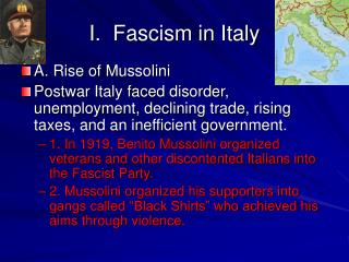 I.  Fascism in Italy